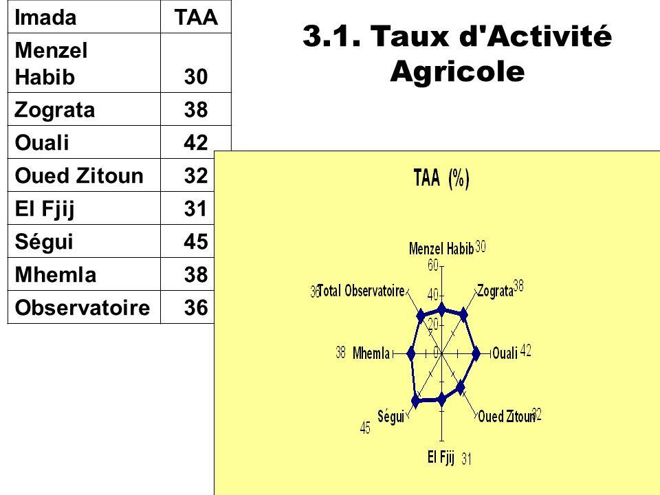 40 ImadaTAA Menzel Habib30 Zograta38 Ouali42 Oued Zitoun32 El Fjij31 Ségui45 Mhemla38 Observatoire36 3.1. Taux d'Activité Agricole