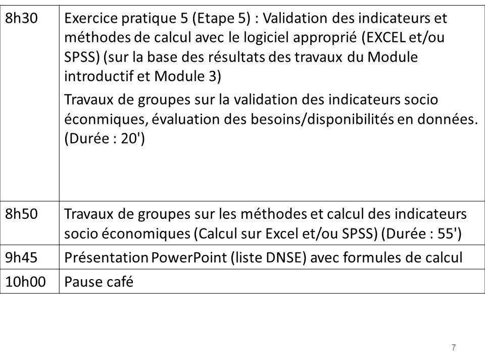 7 8h30Exercice pratique 5 (Etape 5) : Validation des indicateurs et méthodes de calcul avec le logiciel approprié (EXCEL et/ou SPSS) (sur la base des