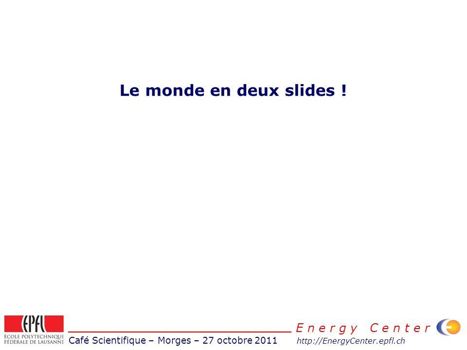 Café Scientifique – Morges – 27 octobre 2011 http://EnergyCenter.epfl.ch E n e r g y C e n t e r La croissance mondiale de la production dénergie La croissance de la demande a lieu hors de lOCDE Le pétrole et le charbon diminuent pour lOCDE Dans lOCDE la plus croissance dans lOCDE sont les renouvelables Source: IEA
