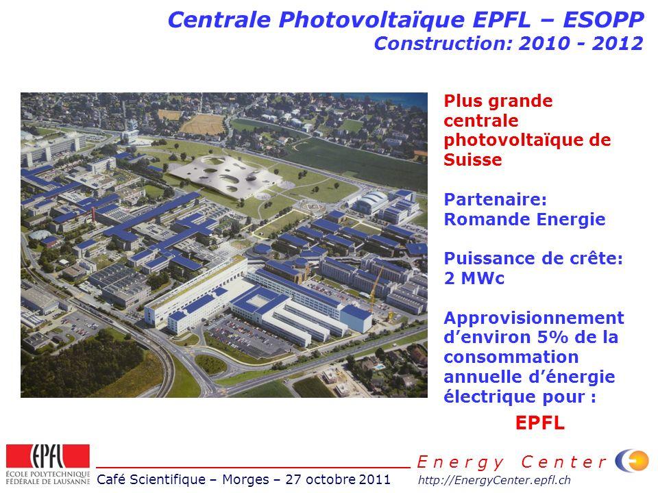 Café Scientifique – Morges – 27 octobre 2011 http://EnergyCenter.epfl.ch E n e r g y C e n t e r Centrale Photovoltaïque EPFL – ESOPP Construction: 20