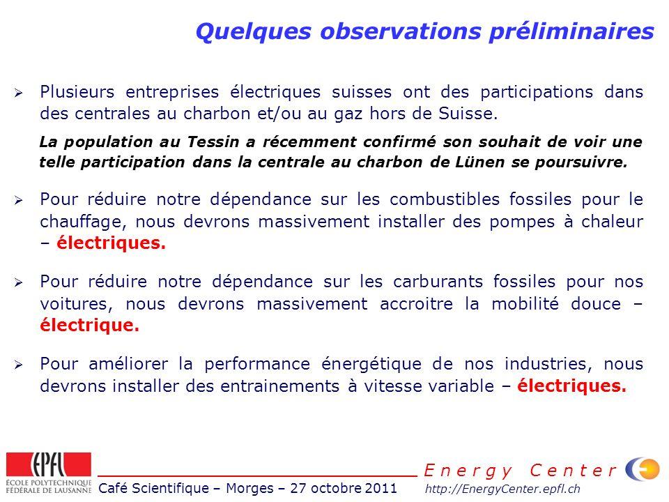 Café Scientifique – Morges – 27 octobre 2011 http://EnergyCenter.epfl.ch E n e r g y C e n t e r Plusieurs entreprises électriques suisses ont des participations dans des centrales au charbon et/ou au gaz hors de Suisse.