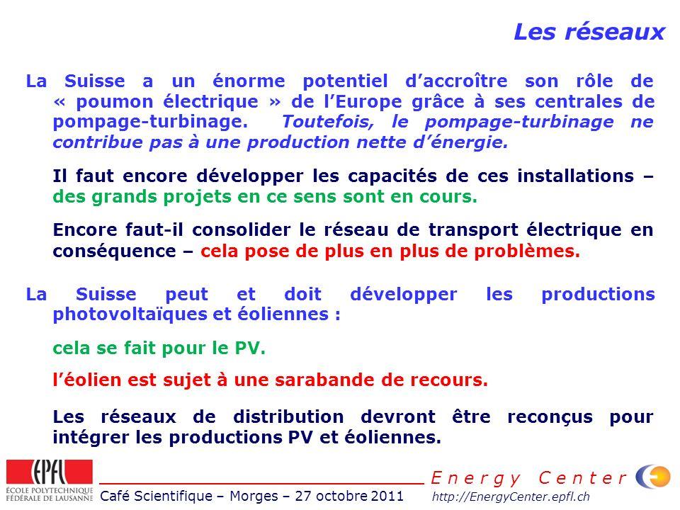 Café Scientifique – Morges – 27 octobre 2011 http://EnergyCenter.epfl.ch E n e r g y C e n t e r Les réseaux La Suisse a un énorme potentiel daccroître son rôle de « poumon électrique » de lEurope grâce à ses centrales de pompage-turbinage.