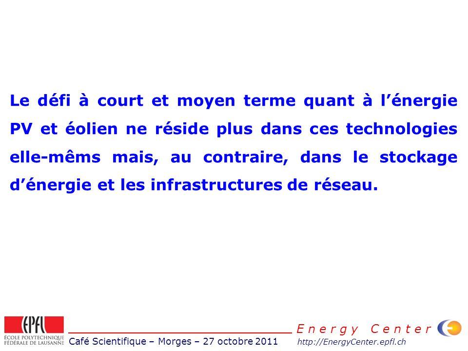 Café Scientifique – Morges – 27 octobre 2011 http://EnergyCenter.epfl.ch E n e r g y C e n t e r Le défi à court et moyen terme quant à lénergie PV et