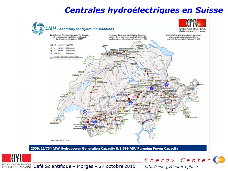 Café Scientifique – Morges – 27 octobre 2011 http://EnergyCenter.epfl.ch E n e r g y C e n t e r 40 Centrales hydroélectriques en Suisse