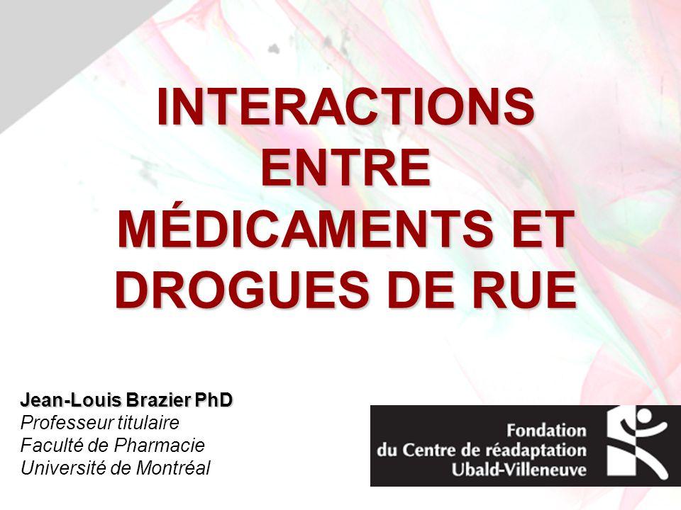 INTERACTIONS ENTRE MÉDICAMENTS ET DROGUES DE RUE Jean-Louis Brazier PhD Professeur titulaire Faculté de Pharmacie Université de Montréal