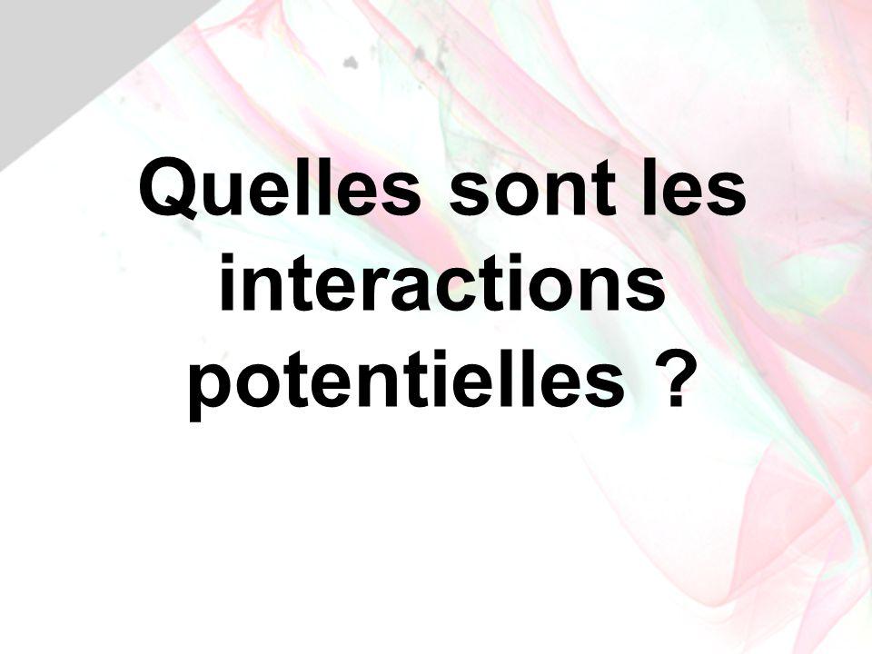 Quelles sont les interactions potentielles ?