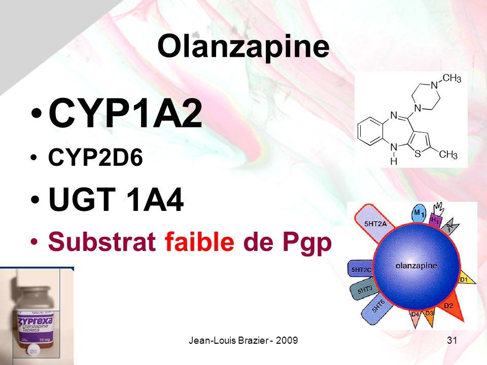 Jean-Louis Brazier - 200931 Olanzapine CYP1A2 CYP2D6 UGT 1A4 Substrat faible de Pgp