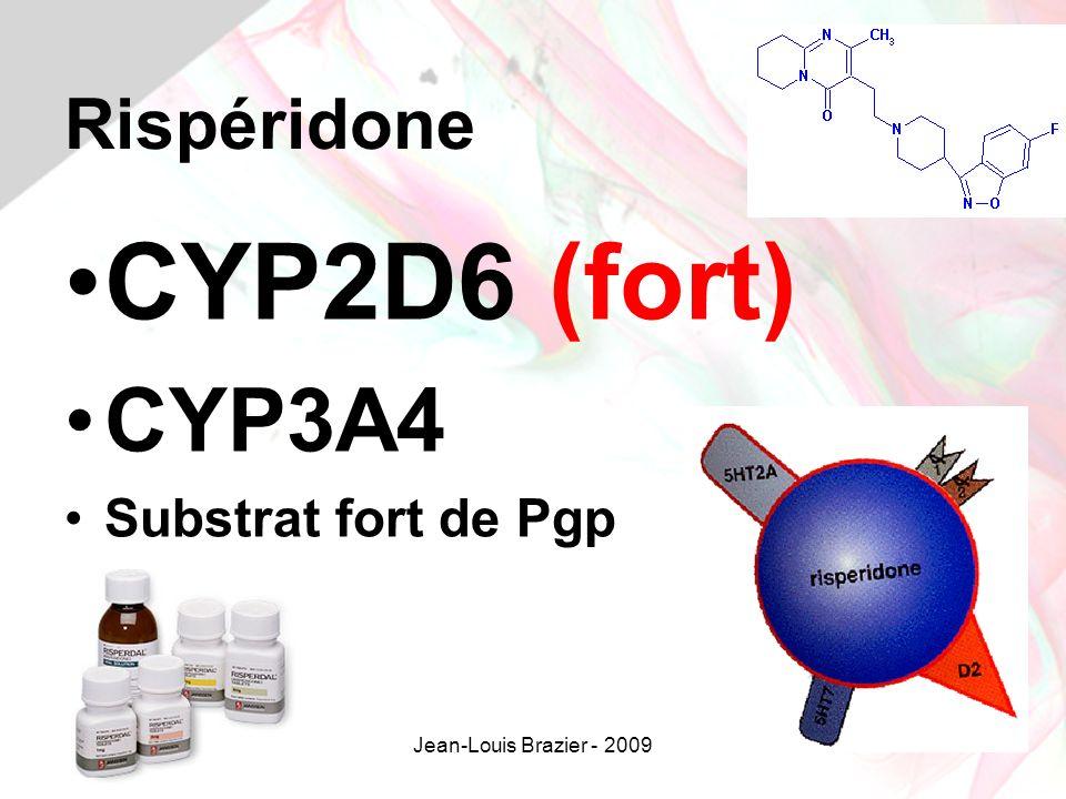 Jean-Louis Brazier - 200933 Rispéridone CYP2D6 (fort) CYP3A4 Substrat fort de Pgp