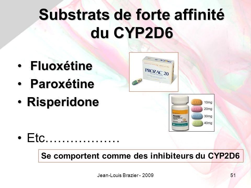 Jean-Louis Brazier - 200951 Substrats de forte affinité du CYP2D6 Fluoxétine Fluoxétine Paroxétine Paroxétine RisperidoneRisperidone Etc……………… Se comportent comme des inhibiteurs du CYP2D6
