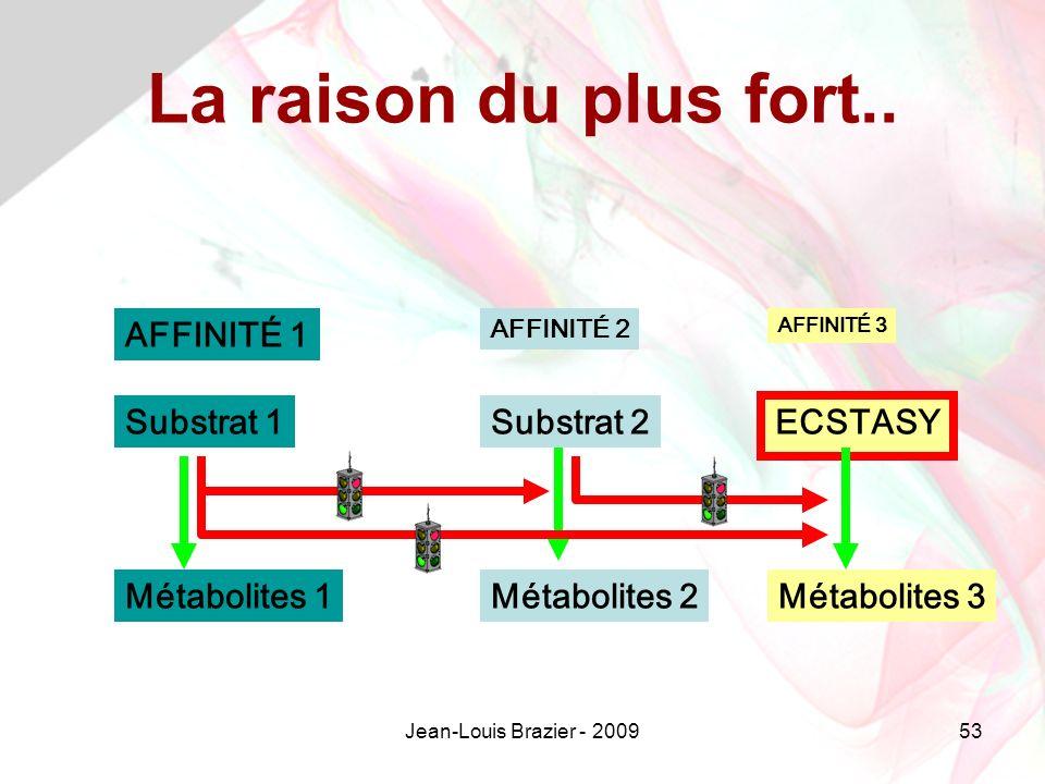 Jean-Louis Brazier - 200953 Substrat 1 ECSTASY Substrat 2 Métabolites 1Métabolites 2Métabolites 3 AFFINITÉ 1 AFFINITÉ 3 AFFINITÉ 2 La raison du plus fort..