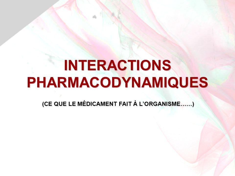 INTERACTIONS PHARMACODYNAMIQUES (CE QUE LE MÉDICAMENT FAIT À LORGANISME……)
