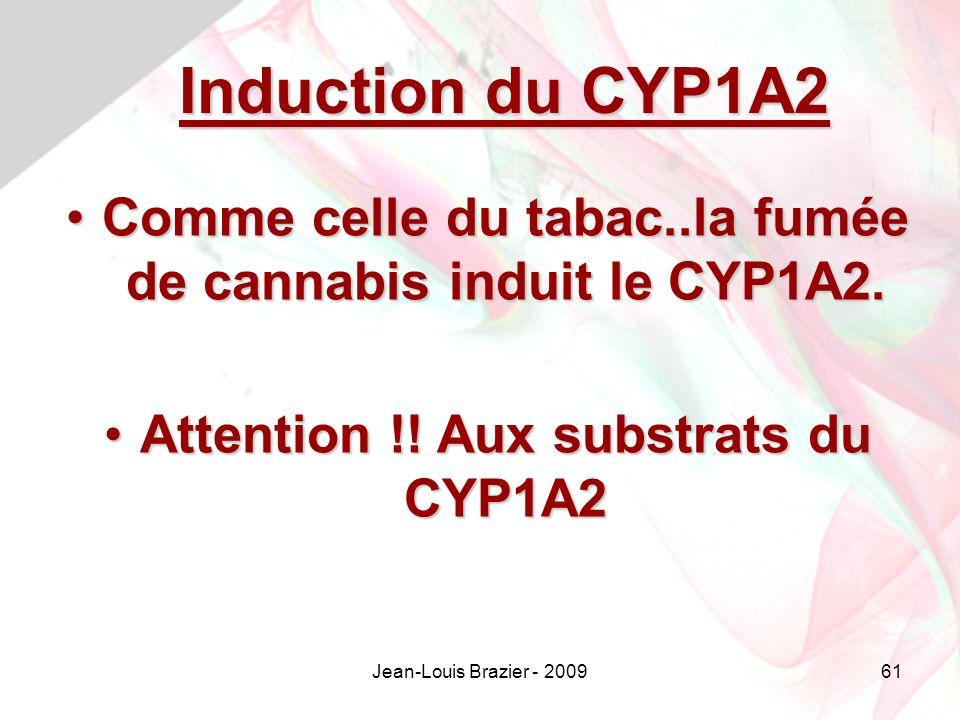 Jean-Louis Brazier - 200961 Induction du CYP1A2 Comme celle du tabac..la fumée de cannabis induit le CYP1A2.Comme celle du tabac..la fumée de cannabis induit le CYP1A2.