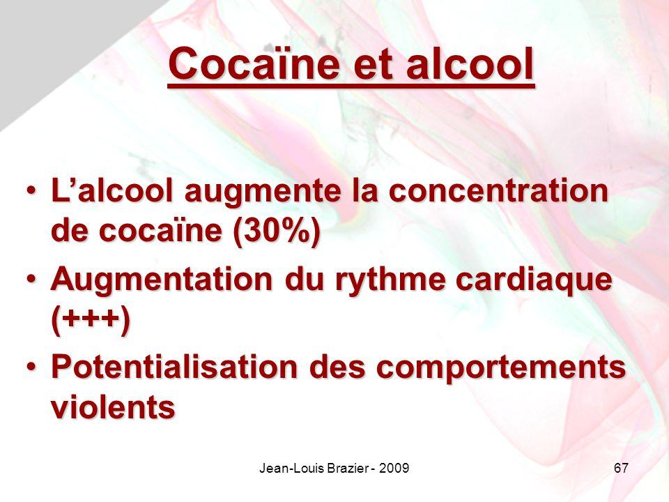 Jean-Louis Brazier - 200967 Cocaïne et alcool Lalcool augmente la concentration de cocaïne (30%)Lalcool augmente la concentration de cocaïne (30%) Augmentation du rythme cardiaque (+++)Augmentation du rythme cardiaque (+++) Potentialisation des comportements violentsPotentialisation des comportements violents