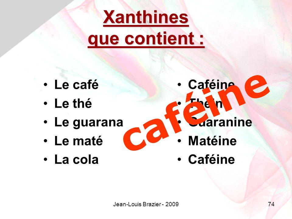 Jean-Louis Brazier - 200974 Xanthines que contient : Le café Le thé Le guarana Le maté La cola Caféine Théine Guaranine Matéine Caféine caféine