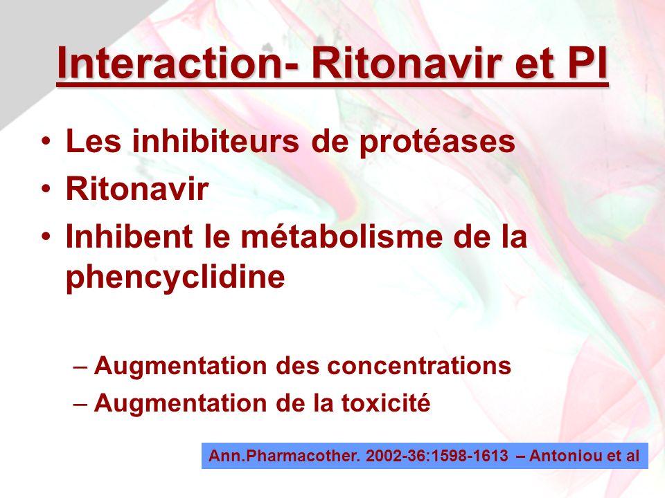 Jean-Louis Brazier - 200980 Interaction- Ritonavir et PI Les inhibiteurs de protéases Ritonavir Inhibent le métabolisme de la phencyclidine –Augmentation des concentrations –Augmentation de la toxicité Ann.Pharmacother.
