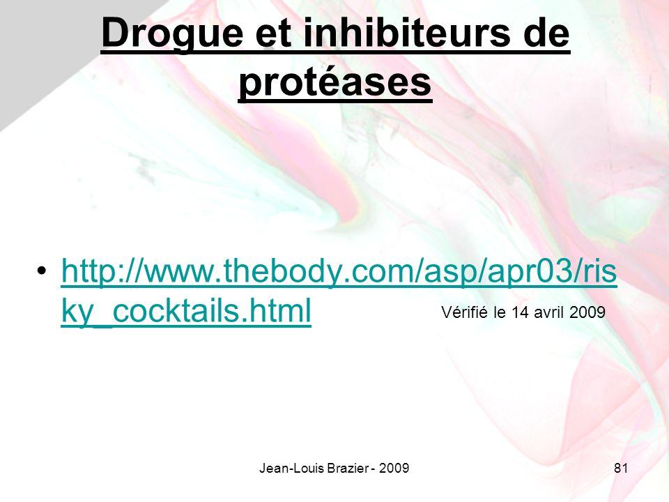 Jean-Louis Brazier - 200981 Drogue et inhibiteurs de protéases http://www.thebody.com/asp/apr03/ris ky_cocktails.htmlhttp://www.thebody.com/asp/apr03/ris ky_cocktails.html Vérifié le 14 avril 2009