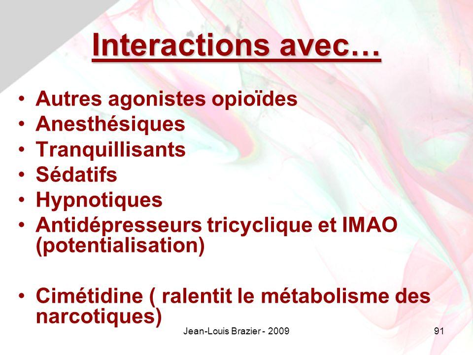 Jean-Louis Brazier - 200991 Interactions avec… Autres agonistes opioïdes Anesthésiques Tranquillisants Sédatifs Hypnotiques Antidépresseurs tricyclique et IMAO (potentialisation) Cimétidine ( ralentit le métabolisme des narcotiques)