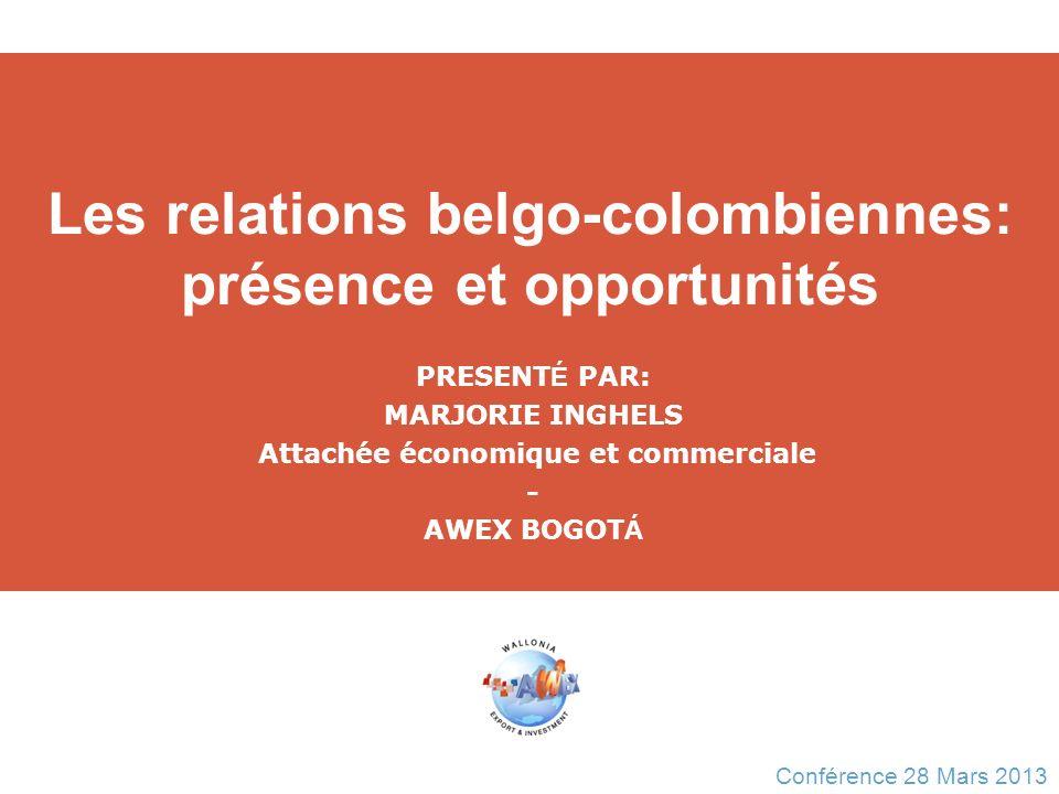 Les relations belgo-colombiennes: présence et opportunités PRESENT É PAR: MARJORIE INGHELS Attachée économique et commerciale - AWEX BOGOT Á Conférenc