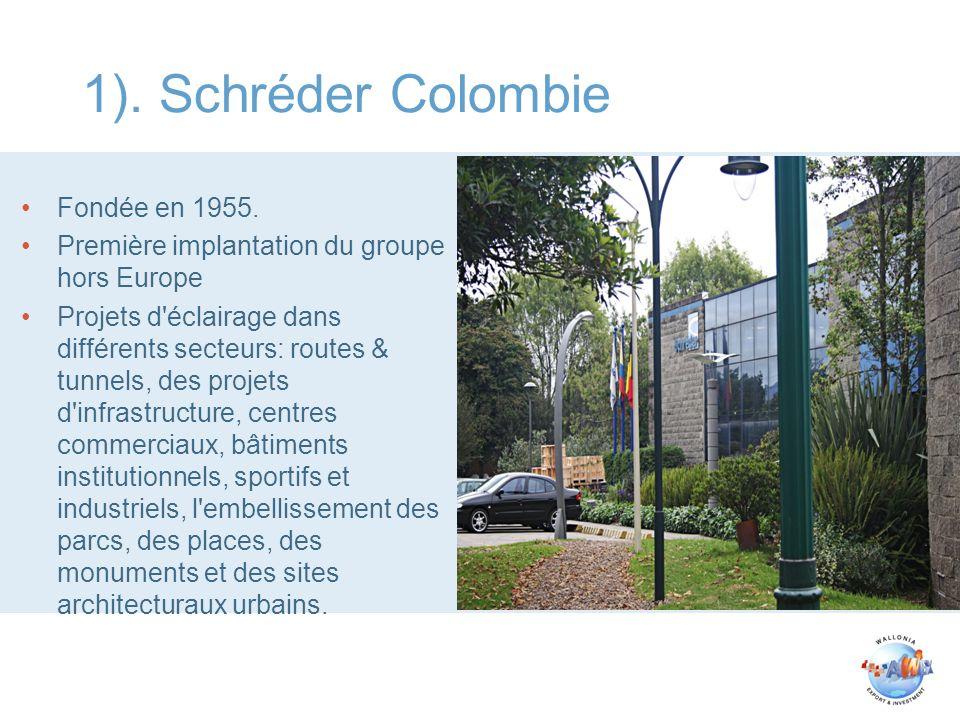 1). Schréder Colombie Fondée en 1955. Première implantation du groupe hors Europe Projets d'éclairage dans différents secteurs: routes & tunnels, des