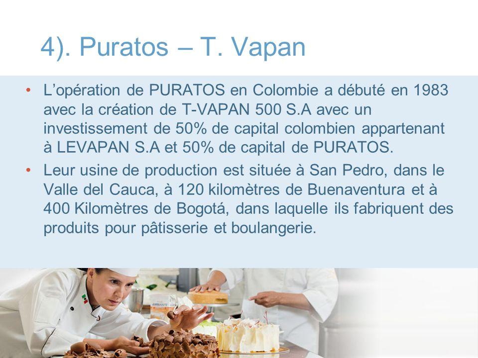 4). Puratos – T. Vapan Lopération de PURATOS en Colombie a débuté en 1983 avec la création de T-VAPAN 500 S.A avec un investissement de 50% de capital
