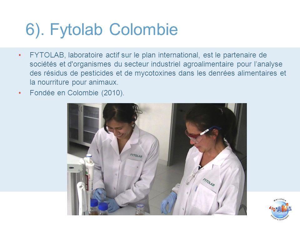 6). Fytolab Colombie FYTOLAB, laboratoire actif sur le plan international, est le partenaire de sociétés et d'organismes du secteur industriel agroali