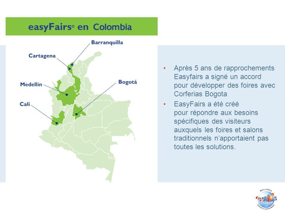 Après 5 ans de rapprochements Easyfairs a signé un accord pour développer des foires avec Corferias Bogota EasyFairs a été créé pour répondre aux besoins spécifiques des visiteurs auxquels les foires et salons traditionnels napportaient pas toutes les solutions.