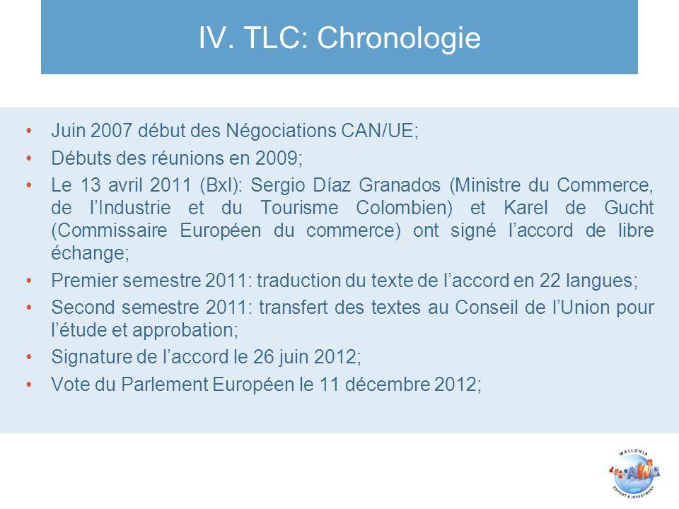 IV. TLC: Chronologie Juin 2007 début des Négociations CAN/UE; Débuts des réunions en 2009; Le 13 avril 2011 (Bxl): Sergio Díaz Granados (Ministre du C