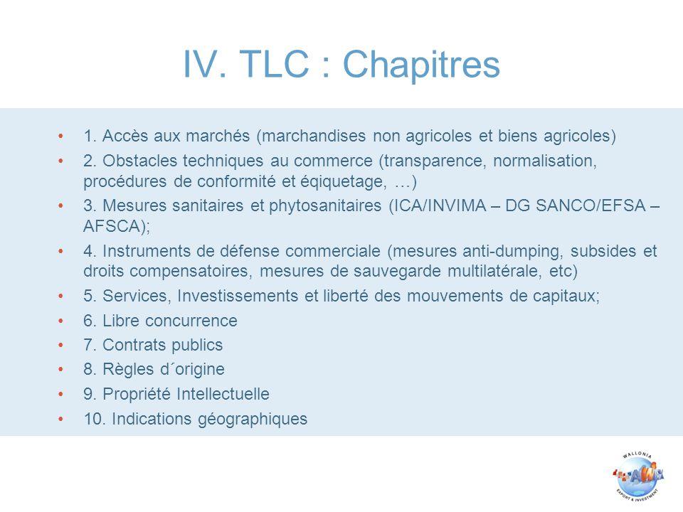 IV. TLC : Chapitres 1. Accès aux marchés (marchandises non agricoles et biens agricoles) 2. Obstacles techniques au commerce (transparence, normalisat