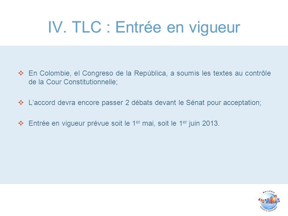 IV. TLC : Entrée en vigueur En Colombie, el Congreso de la República, a soumis les textes au contrôle de la Cour Constitutionnelle; Laccord devra enco