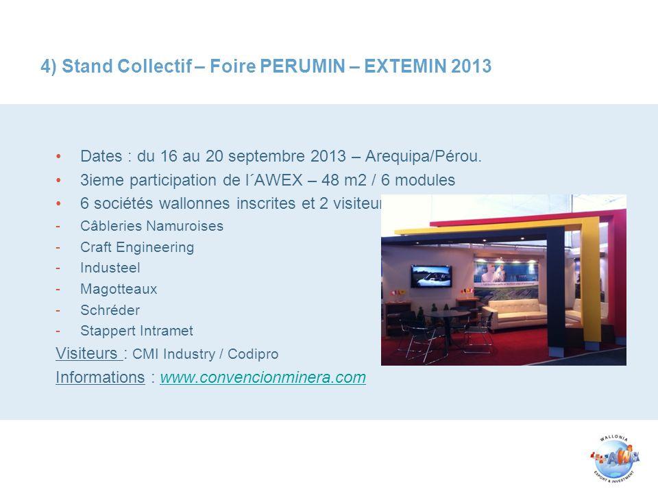 4) Stand Collectif – Foire PERUMIN – EXTEMIN 2013 Dates : du 16 au 20 septembre 2013 – Arequipa/Pérou. 3ieme participation de l´AWEX – 48 m2 / 6 modul