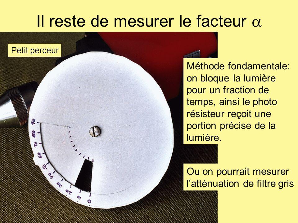 Il reste de mesurer le facteur Méthode fondamentale: on bloque la lumière pour un fraction de temps, ainsi le photo résisteur reçoit une portion préci