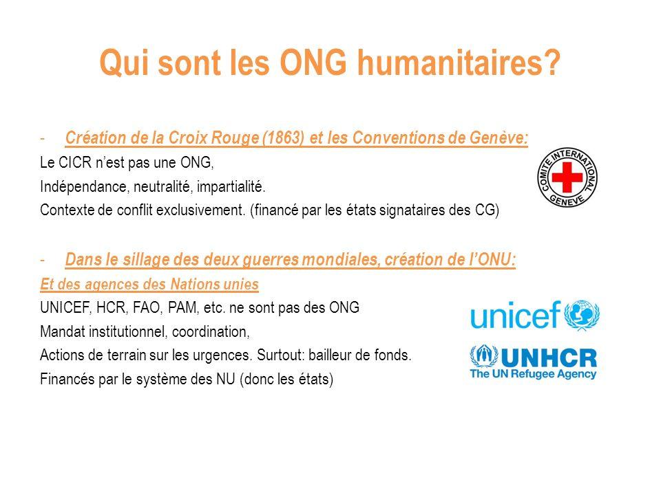 Qui sont les ONG humanitaires.