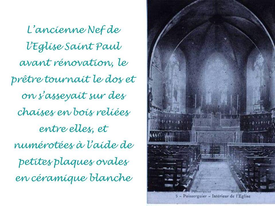 Lancienne Nef de lEglise Saint Paul avant rénovation, le prêtre tournait le dos et on sasseyait sur des chaises en bois reliées entre elles, et numérotées à laide de petites plaques ovales en céramique blanche