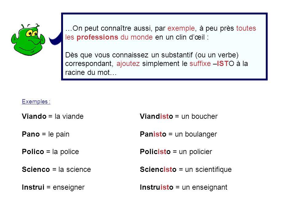 …On peut connaître aussi, par exemple, à peu près toutes les professions du monde en un clin dœil : Dès que vous connaissez un substantif (ou un verbe