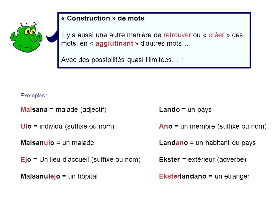 « Construction » de mots Il y a aussi une autre manière de retrouver ou « créer » des mots, en « agglutinant » d'autres mots… Avec des possibilités qu
