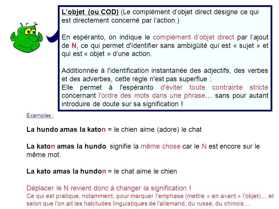 Lobjet (ou COD) (Le complément dobjet direct désigne ce qui est directement concerné par laction.) En espéranto, on indique le complément dobjet direc