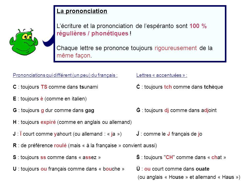 La prononciation Lécriture et la prononciation de lespéranto sont 100 % régulières / phonétiques ! Chaque lettre se prononce toujours rigoureusement d