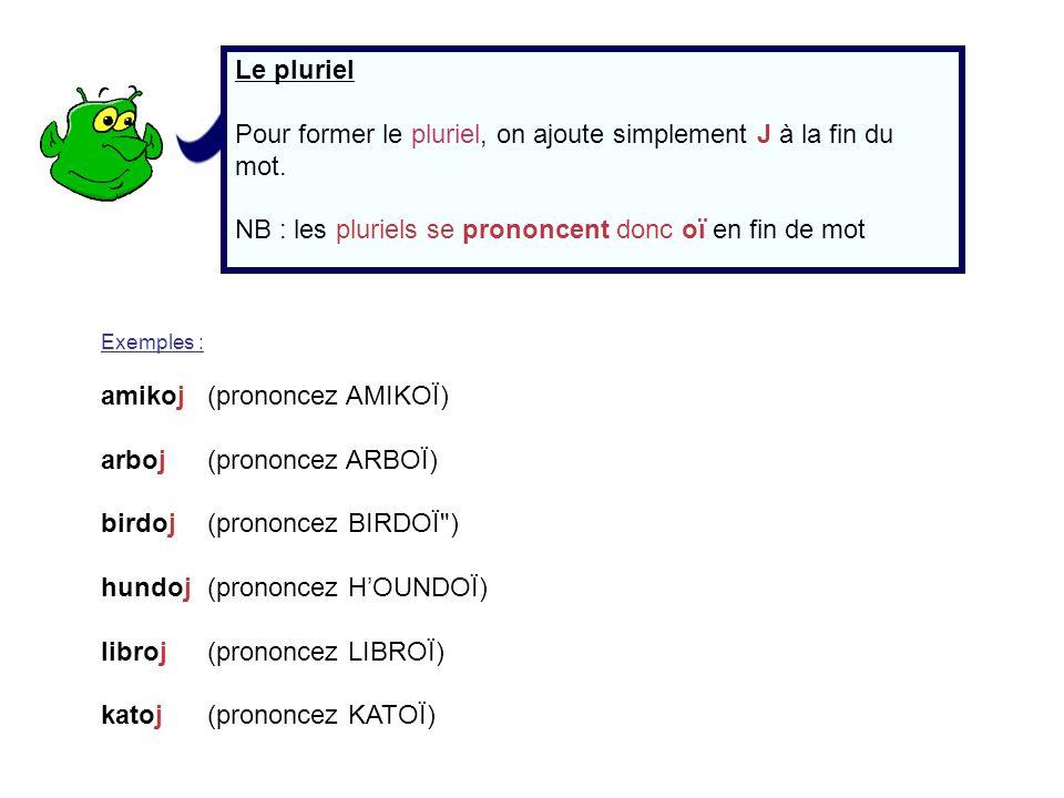 Le pluriel Pour former le pluriel, on ajoute simplement J à la fin du mot. NB : les pluriels se prononcent donc oï en fin de mot Exemples : amikoj (pr