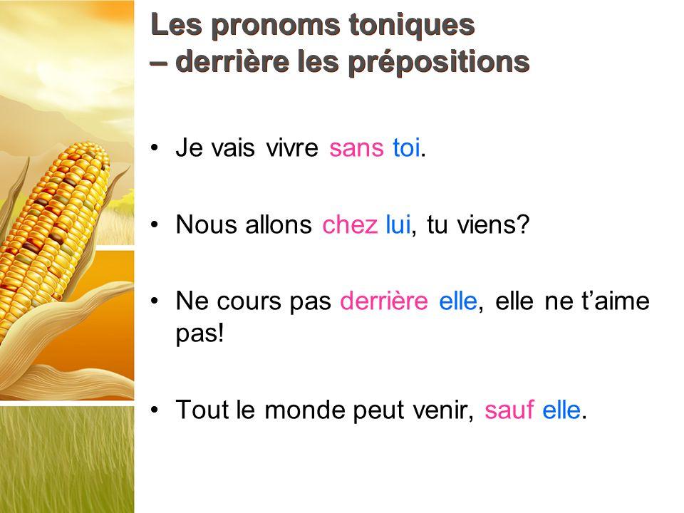 Les pronoms toniques – derrière les prépositions Je vais vivre sans toi. Nous allons chez lui, tu viens? Ne cours pas derrière elle, elle ne taime pas