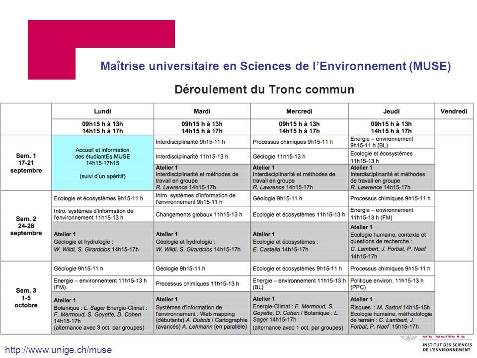 Déroulement du Tronc commun Maîtrise universitaire en Sciences de lEnvironnement (MUSE) http://www.unige.ch/muse