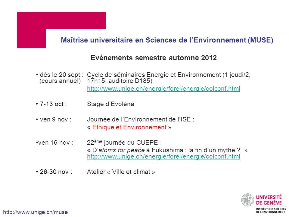 Evénements semestre automne 2012 dès le 20 sept :Cycle de séminaires Energie et Environnement (1 jeudi/2, (cours annuel)17h15, auditoire D185) http://