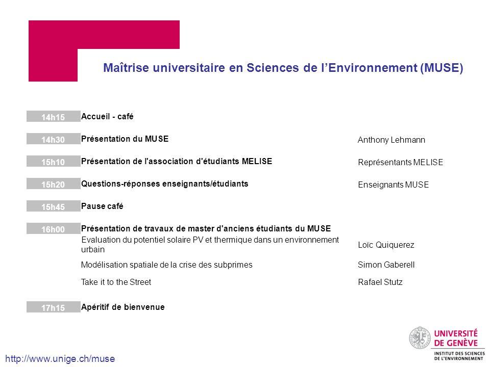 14h15 Accueil - café 14h30 Présentation du MUSE Anthony Lehmann 15h10 Présentation de l'association d'étudiants MELISE Représentants MELISE 15h20 Ques