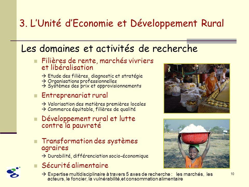 10 3. LUnité dEconomie et Développement Rural Les domaines et activités de recherche Filières de rente, marchés vivriers et libéralisation Etude des f