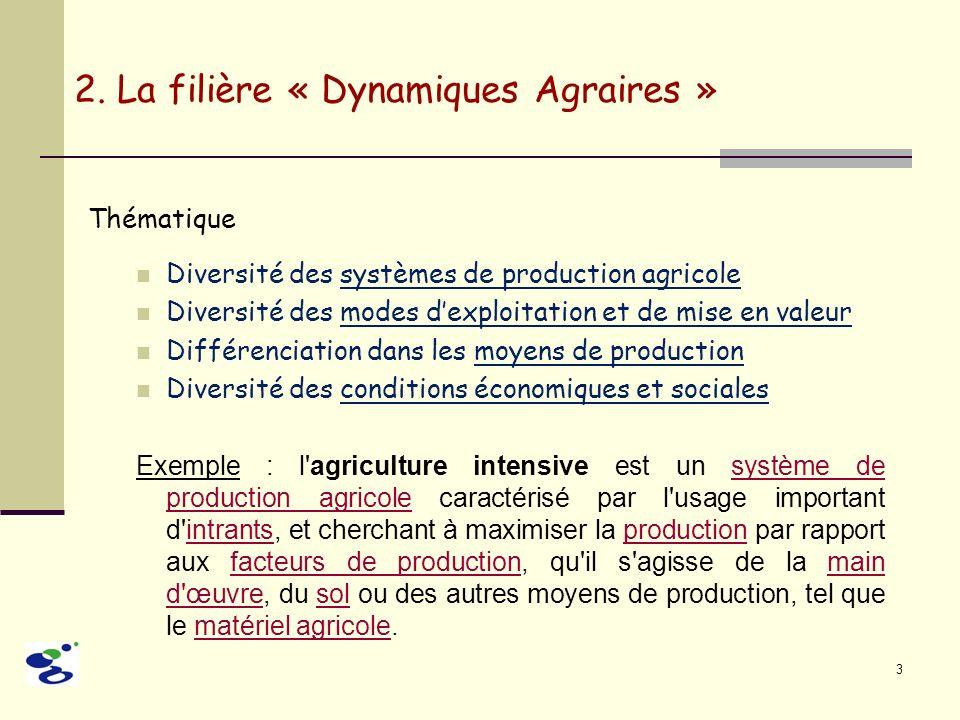 3 Thématique Diversité des systèmes de production agricole Diversité des modes dexploitation et de mise en valeur Différenciation dans les moyens de p