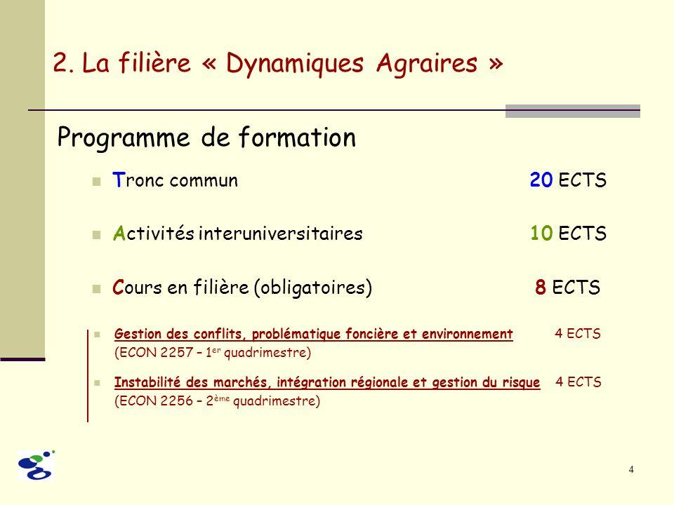 4 Programme de formation Tronc commun 20 ECTS Activités interuniversitaires10 ECTS Cours en filière (obligatoires) 8 ECTS 2. La filière « Dynamiques A