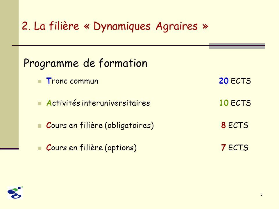 5 Programme de formation Tronc commun 20 ECTS Activités interuniversitaires10 ECTS Cours en filière (obligatoires) 8 ECTS Cours en filière (options) 7