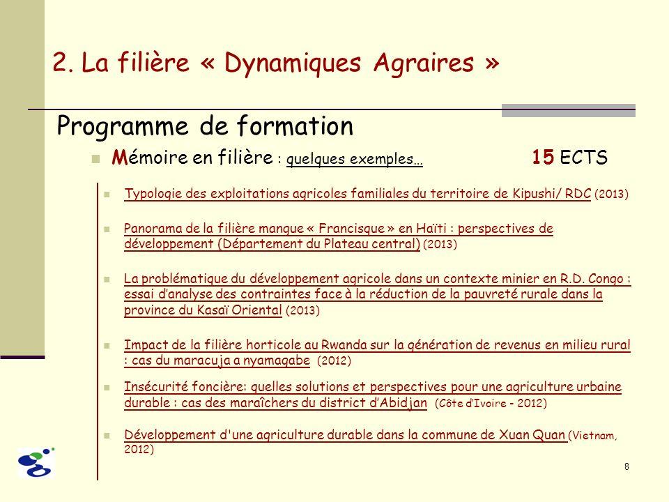 8 Programme de formation Mémoire en filière : quelques exemples… 15 ECTS 2. La filière « Dynamiques Agraires » Typologie des exploitations agricoles f