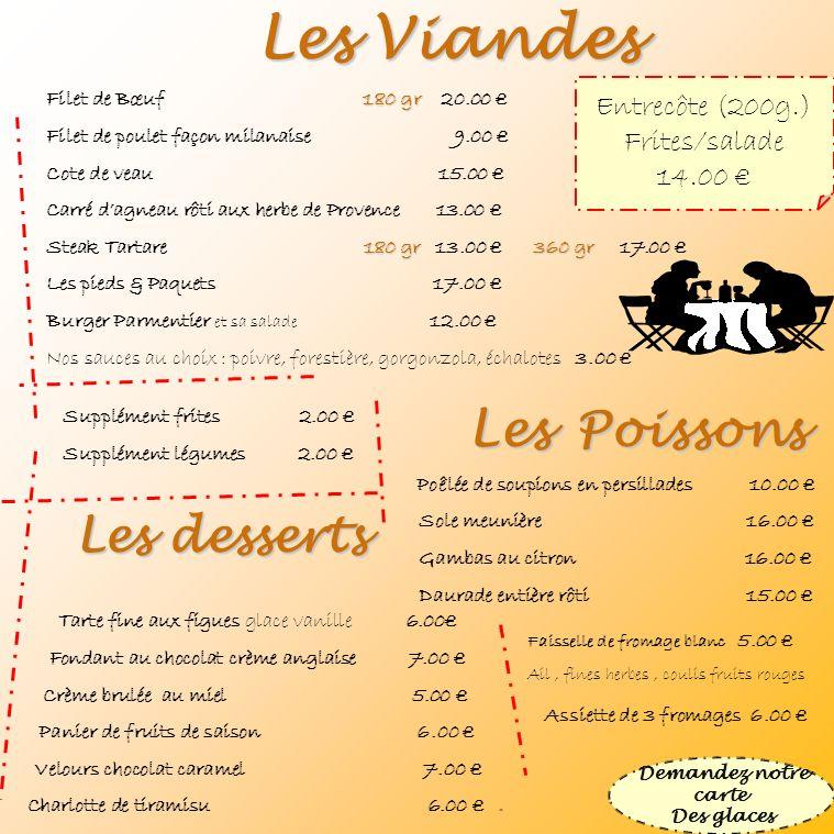 Les Viandes 180 gr Filet de Bœuf 180 gr 20.00 Filet de poulet façon milanaise 9.00 Cote de veau 15.00 Carré dagneau rôti aux herbe de Provence 13.00 1