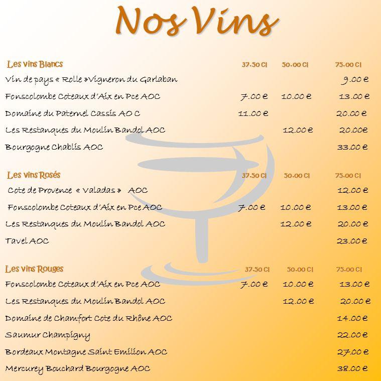 Nos Vins Les vins Blancs 37.50 cl 50.00 cl 75.00 cl Les vins Blancs 37.50 cl 50.00 cl 75.00 cl Vin de pays « Rolle »Vigneron du Garlaban 9.00 Fonscolo