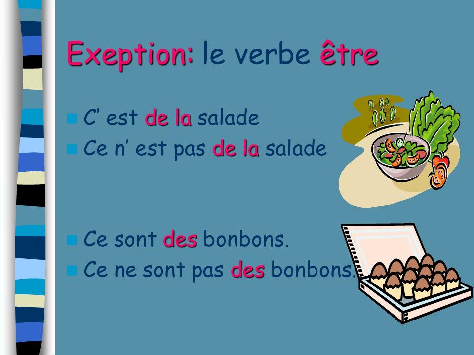 NEGATION: d + ουσιαστικό που αρχίζει από φωνήεν ή το γράμμα h NEGATION: d + ουσιαστικό που αρχίζει από φωνήεν ή το γράμμα h Les oeufs sont mauvais.